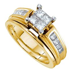 1 CTW Princess Diamond Cluster Bridal Wedding Ring 14kt Yellow Gold - REF-139V8Y