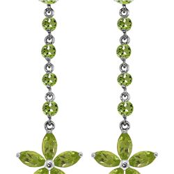 Genuine 4.8 ctw Peridot Earrings 14KT White Gold - REF-56T8A