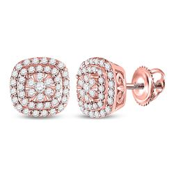 1/2 CTW Womens Round Diamond Cushion Halo Cluster Earrings 14kt Rose Gold - REF-54F5W