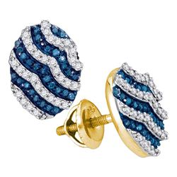 1/2 CTW Womens Round Blue Color Enhanced Diamond Oval Earrings 10kt Yellow Gold - REF-24N5A