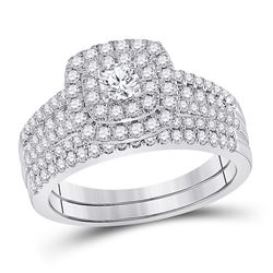 1 CTW Round Diamond Bridal Wedding Ring Band Set 10kt White Gold - REF-106F3W