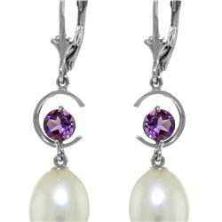 Genuine 9 ctw Pearl & Amethyst Earrings 14KT White Gold - REF-36K3V