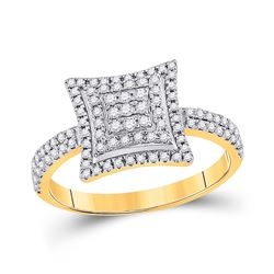 1/2 CTW Womens Round Diamond Square Kite Cluster Ring 10kt Yellow Gold - REF-25N9A