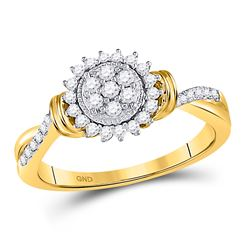 1/3 CTW Womens Round Diamond Circle Flower Cluster Ring 10kt Yellow Gold - REF-36R2X