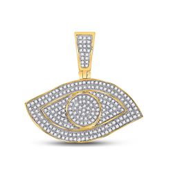 5/8 CTW Mens Round Diamond All Seeing Eye Charm Pendant 10kt Yellow Gold - REF-47A6M
