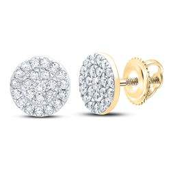 1/4 CTW Womens Round Diamond Cluster Earrings 10kt Yellow Gold - REF-25M9F