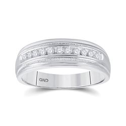 1/4 CTW Mens Round Diamond Wedding Single Row Band Ring 10kt White Gold - REF-40X3T