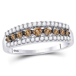 1/2 CTW Womens Round Brown Diamond Band Ring 14kt White Gold - REF-34Y6N