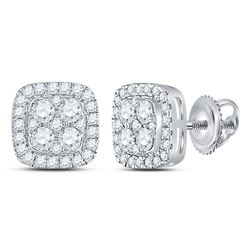 7/8 CTW Womens Round Diamond Square Cluster Earrings 14kt White Gold - REF-71N6A