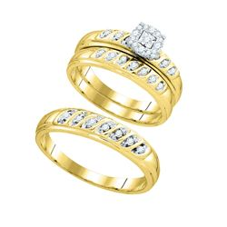 1/3 CTW Round Diamond Matching Trio Mens Womens Wedding Bridal Ring 10k Yellow Gold - REF-47N3A