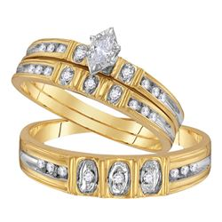 1/4 CTW His Hers Marquise Diamond Solitaire Matching Wedding Set 10kt Yellow Gold - REF-38W2H