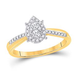 1/4 CTW Womens Round Diamond Cluster Pear Promise Ring 10kt Yellow Gold - REF-34M3F