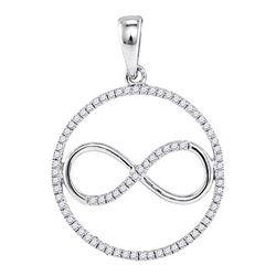 1/3 CTW Womens Round Diamond Infinity Circle Pendant 10kt White Gold - REF-20A5M