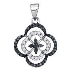 1/4 CTW Womens Round Black Color Enhanced Diamond Quatrefoil Cluster Pendant 10kt White Gold - REF-1