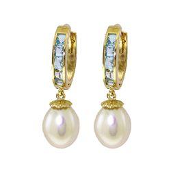 Genuine 9.3 ctw Aquamarine & Pearl Earrings 14KT Yellow Gold - REF-45W7Y