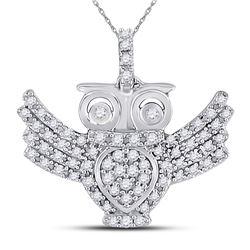 1/4 CTW Womens Round Diamond Owl Bird Animal Pendant 10kt White Gold - REF-17A6M