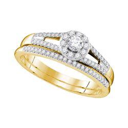 1/3 CTW Round Diamond Bridal Wedding Ring 10kt Yellow Gold - REF-47R6X