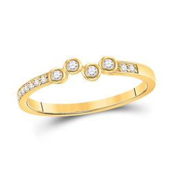 1/5 CTW Womens Round Diamond Stackable Band Ring 10kt Yellow Gold - REF-22H5R