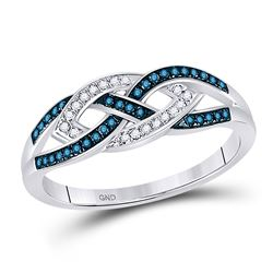 1/6 CTW Womens Round Blue Color Enhanced Diamond Crossover Braid Ring 10kt White Gold - REF-22Y5N