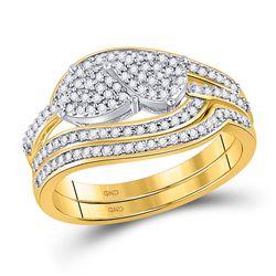 1/3 CTW Round Diamond Bridal Wedding Ring 10kt Yellow Gold - REF-34F3W