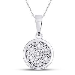 1/20 CTW Womens Round Diamond Illusion-set Flower Cluster Pendant 10kt White Gold - REF-8M3F
