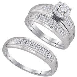 1/3 CTW His Hers Round Diamond Solitaire Matching Wedding Set 10kt White Gold - REF-53R3X