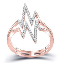 1/5 CTW Womens Round Diamond Double Heartbeat Ring 10kt Rose Gold - REF-17A6M