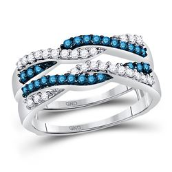 1/2 CTW Womens Round Blue Color Enhanced Diamond Band Ring 10kt White Gold - REF-47N6A