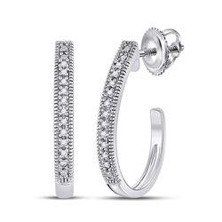 0.03 CTW Womens Round Diamond Half J Hoop Earrings 10kt White Gold - REF-12R2X