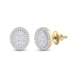 3/8 CTW Womens Baguette Diamond Oval Cluster Earrings 10kt Yellow Gold - REF-34Y3N