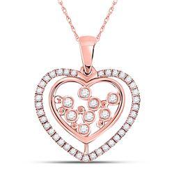 1/4 CTW Womens Round Diamond Scattered Heart Pendant 10kt Rose Gold - REF-23M3F