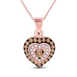 1/3 CTW Womens Round Brown Diamond Heart Pendant 10kt Rose Gold - REF-21F8W