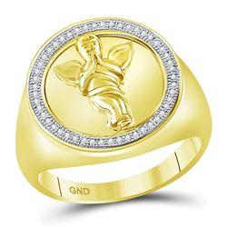 1/6 CTW Mens Round Diamond Circle Angel Ring 10kt Yellow Gold - REF-56T6V