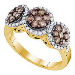 1 CTW Womens Round Brown Diamond Triple Flower Cluster Ring 10kt Yellow Gold - REF-63V5Y