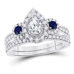 7/8 CTW Pear Diamond Bridal Wedding Ring 14kt White Gold - REF-136A4M