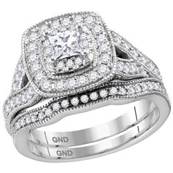 1 CTW Princess Diamond Bridal Wedding Ring 14kt White Gold - REF-182H3R