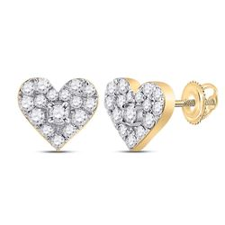 1/3 CTW Womens Round Diamond Heart Earrings 10kt Yellow Gold - REF-27F3W