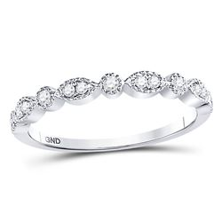 1/6 CTW Womens Round Diamond Marquise Dot Stackable Band Ring 10kt White Gold - REF-19R2X