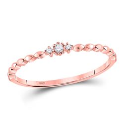 0.03 CTW Womens Round Diamond Stackable Band Ring 10kt Rose Gold - REF-8R3X