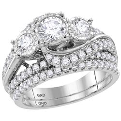 2 CTW Round Diamond 3-Stone Bridal Wedding Ring 14kt White Gold - REF-286Y4N