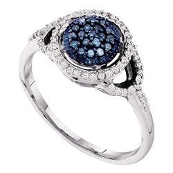 1/4 CTW Womens Round Blue Color Enhanced Diamond Framed Cluster Ring 10kt White Gold - REF-21T2V