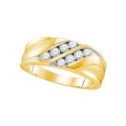 1/2 CTW Mens Round Diamond Wedding Band Ring 10kt Yellow Gold - REF-53R2X