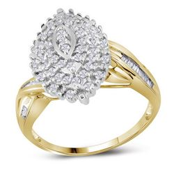 1/2 CTW Womens Round Diamond Oval Cluster Ring 10kt Yellow Gold - REF-33N5A