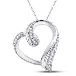 1/10 CTW Womens Round Diamond Heart Outline Pendant 10kt White Gold - REF-13X5T