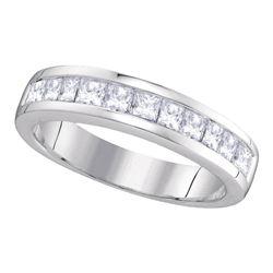 1 CTW Womens Princess Diamond Wedding Channel Set 14kt White Gold - REF-115A3M