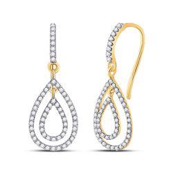 1/2 CTW Womens Round Diamond Teardrop Dangle Earrings 10kt Yellow Gold - REF-29A9M