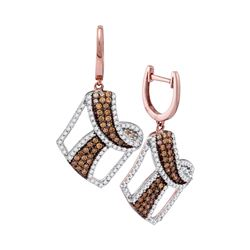 1 & 3/4 CTW Womens Round Brown Diamond Dangle Earrings 10kt Rose Gold - REF-79R3X