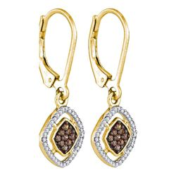 1/3 CTW Womens Round Brown Diamond Diagonal Square Dangle Earrings 10kt Yellow Gold - REF-19F2W