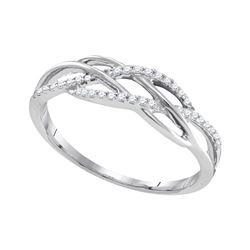 1/8 CTW Womens Round Diamond Band Ring 10kt White Gold - REF-17X7T
