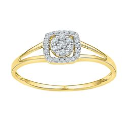 1/10 CTW Womens Round Diamond Square Frame Cluster Ring 10kt Yellow Gold - REF-15M2F